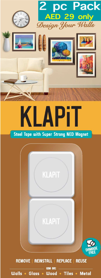 KLAPiT, Double Sided Tape, Velcro, 3M, 3M VHB, NED, Magnet, Magnetic Hanger, Magnetic, Wall Mount, Picture Hanging Strips, Picture hanging, drill free hanging, damage free hanging, hang without nails, hang without screws, hang clock without screw