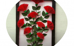 diy, Red Flower Wall Decor, DIY project, Do it yourself project, interior design, home decor, interior decor, wall decor, art, creativity, creative project, hobby, summer project, holiday project, art project, home decoration, interior decoration, home decoration ideas, simple DIY, easy DIY project, DIY project with material, DIY project idea, Hobby ideas, home art, art for home