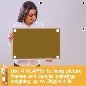 Ho to hanng large picture frame, hanging large pictures without nails, using KLAPiT