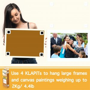 How to hang A3 frames using KLAPiT, picture hanging hooks, heavy duty picture hanging, picture hanging kit