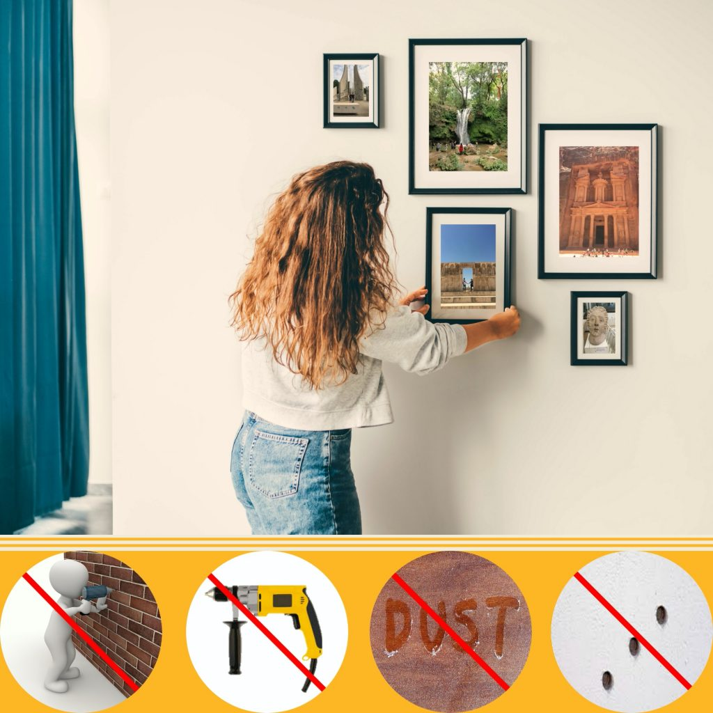 Picture Hanging, Photo hanging, Gallery wall, Steps to hang a picture, how to hang a picture, Gallery wall, DIY, Do it yourself, double-sided tape, better than double-sided tape, best double-sided tape