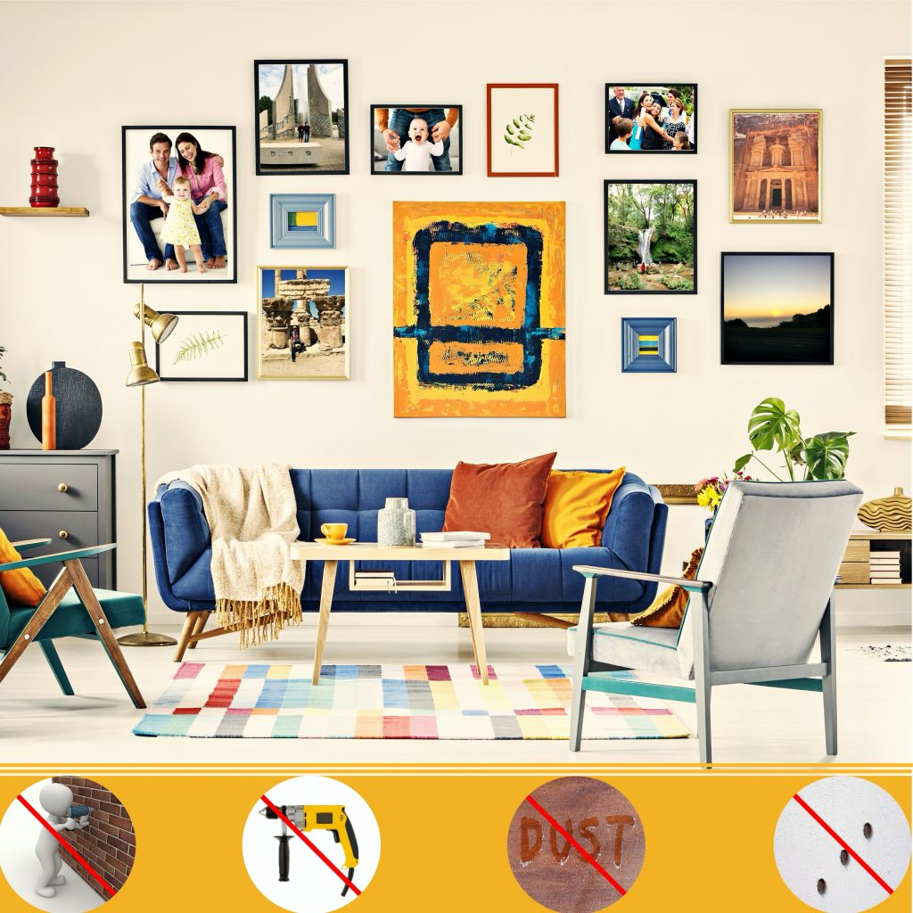 Picture Hanging, Photo hanging, Gallery wall, Steps to hang a picture, how to hang a picture, Gallery wall, DIY, Do it yourself,double-sided tape, better than double sided tape, problems with double sided tape