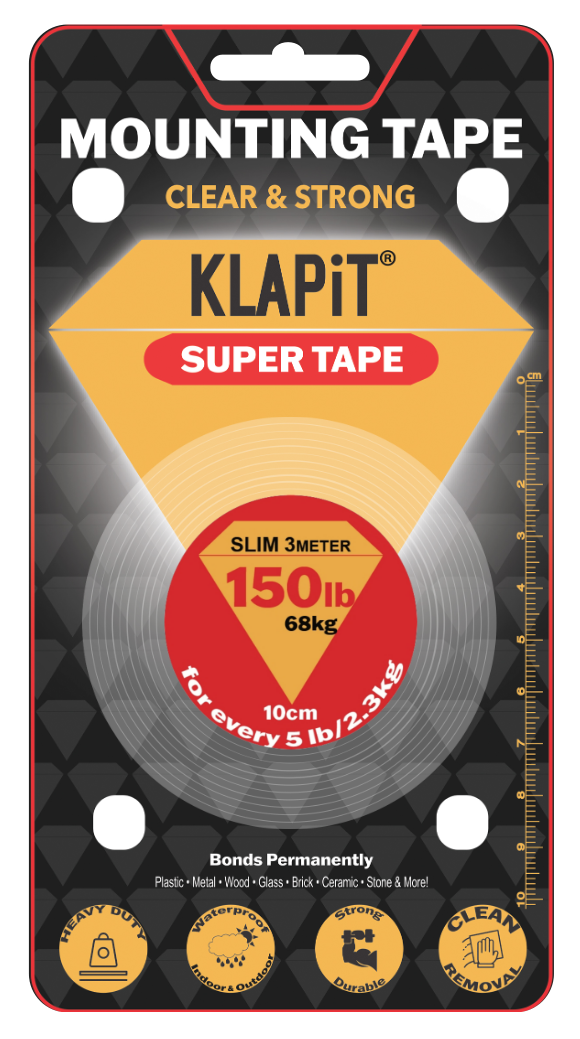 KLAPiT, double-sided tape, mounting tape, adhesive strips, mounting strips, heavy duty mounting tape,